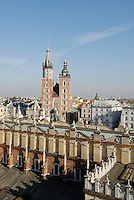 Poland, Krakow, View of Rynek Glowny, Grand Square, from Town Hall Tower, Wieza Ratuszowa