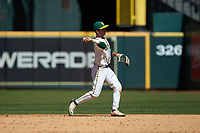 Baylor Bears second baseman Ricky Martinez (11) makes a throw to first base against the Missouri Tigers in game one of the 2020 Shriners Hospitals for Children College Classic at Minute Maid Park on February 28, 2020 in Houston, Texas. The Bears defeated the Tigers 4-2. (Brian Westerholt/Four Seam Images)