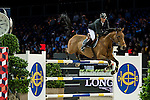 Patrice Delaveau on Ornerlla Mail HDC competes during competition Table A Against the Clock at the Longines Masters of Hong Kong on 19 February 2016 at the Asia World Expo in Hong Kong, China. Photo by Li Man Yuen / Power Sport Images