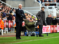 Saturday 17 November 2012<br /> Pictured L-R: Managers Alan Pardew of Newcastle and Michael Laudrup of Swansea. <br /> Re: Barclay's Premier League, Newcastle United v Swansea City FC at St James' Park, Newcastle Upon Tyne, UK.