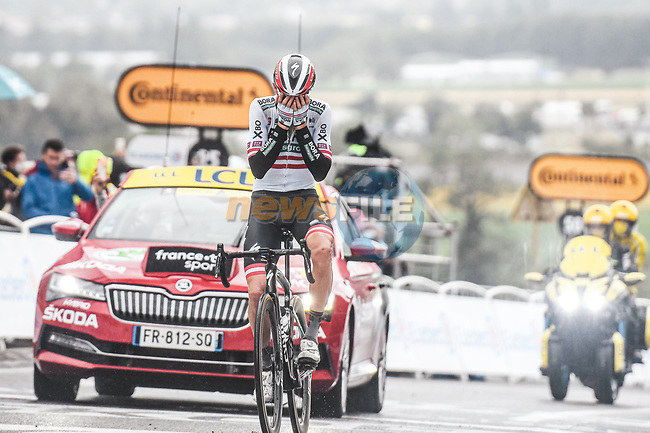 Austrian Champion Patrick Konrad (AUT) Bora-Hansgrohe wins solo Stage 16 of the 2021 Tour de France, running 169km from Pas de la Case to Saint-Gaudens, France. 13th July 2021.  <br /> Picture: A.S.O./Charly Lopez | Cyclefile<br /> <br /> All photos usage must carry mandatory copyright credit (© Cyclefile | A.S.O./Charly Lopez)