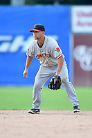 Connecticut Tigers second baseman Brett Pirtle (35) during the second game of a doubleheader against the Batavia Muckdogs on July 20, 2014 at Dwyer Stadium in Batavia, New York.  Connecticut defeated Batavia 2-0.  (Mike Janes/Four Seam Images)