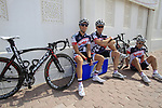 Lotto-Belisol team riders relax before the start of Stage 1 of the Tour of Qatar 2012 running 142.5km from Barzan Towers to Doha Golf Club, Doha, Qatar. 5th February 2012.<br /> (Photo by Eoin Clarke/NEWSFILE).