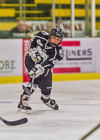 1 February 2015: Providence College Friar Defender Kendra Goodrich, a Sophomore from Apple Valley, MN, takes a shot in the first period against the University of Vermont Catamounts at Gutterson Fieldhouse in Burlington, Vermont. The Friars fell to the Lady Cats 7-3 in Hockey East play. Mandatory Credit: Ed Wolfstein Photo *** RAW (NEF) Image File Available ***