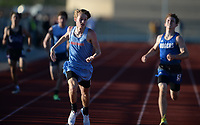 Matt Haddock (center) of Fort Smith Southside comes in at the finish Friday, April 30, 2021, to win the 400 meters the during the 6A-West Conference Track and Field Meet at the Tiger Athletic Complex in Bentonville. Visit nwaonline.com/210501Daily/ for today's photo gallery. <br /> (NWA Democrat-Gazette/Andy Shupe)