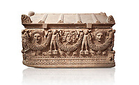 "Picture of Roman relief sculpted Sarcophagus of Garlands, 2nd century AD, Perge. This type of sarcophagus is described as a ""Pamphylia Type Sarcophagus"". It is known that these sarcophagi garlanded tombs originated in Perge and manufactured in the sculptural workshops of Perge. Antalya Archaeology Museum, Turkey.. Against a white background."