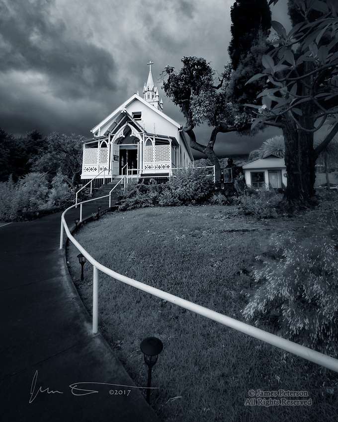Saint Benedict Catholic Church, Captain Cook, Hawaii (Infrared) ©2017 James D Peterson.  On a cloudy day, we took a side trip and found this beautiful chapel on Painted Church Road, along the coast of the Big Island south of Kona.