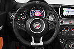 Car pictures of steering wheel view of a 2018 Abarth 595 Turismo 3 Door Hatchback