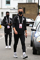 Sergi Canos of Brentford arrives at the ground ahead of kick-off wearing a mask during Brentford vs Preston North End, Sky Bet EFL Championship Football at Griffin Park on 15th July 2020