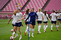 KASHIMA, JAPAN - JULY 27: United States warming up before a game between Australia and USWNT at Ibaraki Kashima Stadium on July 27, 2021 in Kashima, Japan.