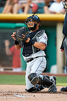 Hank Conger (16) of the Reno Aces on defense against the Salt Lake Bees in Pacific Coast League action at Smith's Ballpark on June 15, 2017 in Salt Lake City, Utah. The Aces defeated the Bees 13-5. (Stephen Smith/Four Seam Images)