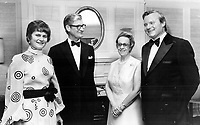 Canada's new Governor-General Jules Leger and Mrs. Leger, centre, met last night with Ontario Premier William Davis and Mrs. Davis prior to the first state dinner to be given for the vice-regal couple by the provincial government since the appointment. The black-tie affair for 800 was at the Royal York Hotel.<br /> <br /> Griffin, Doug<br /> Picture, 1974