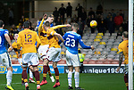 Motherwell v St Johnstone…20.10.18…   Fir Park    SPFL<br />Jason Kerr heads in the goal that wins the game<br />Picture by Graeme Hart. <br />Copyright Perthshire Picture Agency<br />Tel: 01738 623350  Mobile: 07990 594431