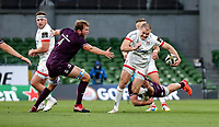 Saturday 29 August 2020   Ulster vs Leinster<br /> <br /> Jacob Stockdale is tackled by Will Connors during the Guinness PRO14 inter-pro  match between Ulster and Leinster at the Aviva Stadium, Lansdowne Road, Dublin, Ireland. Photo by John Dickson / Dicksondigital
