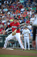 Kyle Funkhouser #16 of the Louisville Cardinals pitches during Game 2 of the 2014 Men's College World Series between the Vanderbilt Commodores and Louisville Cardinals at TD Ameritrade Park on June 14, 2014 in Omaha, Nebraska. (Brace Hemmelgarn/Four Seam Images)