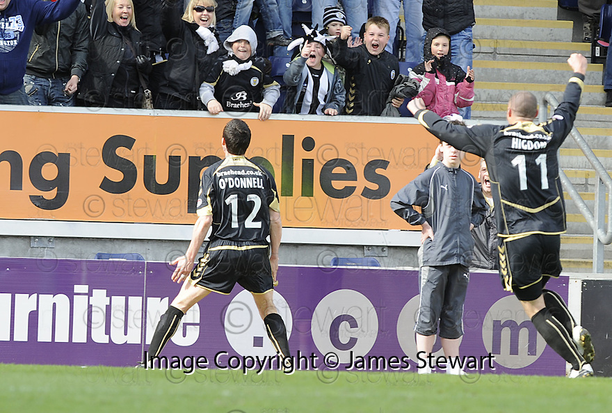 01/05/2010   Copyright  Pic : James Stewart.sct_jsp08_falkirk_v_st-mirren  .::  STEPHEN O'DONNELL CELEBRATES AFTER HE HEADS HOME THE EQUALISER ::  .James Stewart Photography 19 Carronlea Drive, Falkirk. FK2 8DN      Vat Reg No. 607 6932 25.Telephone      : +44 (0)1324 570291 .Mobile              : +44 (0)7721 416997.E-mail  :  jim@jspa.co.uk.If you require further information then contact Jim Stewart on any of the numbers above.........