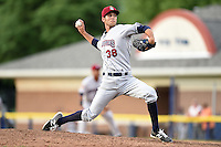 Mahoning Valley Scrappers pitcher Kieran Lovegrove (38) delivers a pitch during a game against the Batavia Muckdogs on June 20, 2014 at Dwyer Stadium in Batavia, New York.  Batavia defeated Mahoning Valley 7-4.  (Mike Janes/Four Seam Images)