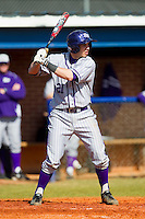 Josh Spano (21) of the High Point Panthers at bat against the Presbyterian Blue Hose at the Presbyterian College Baseball Complex on March 3, 2013 in Clinton, South Carolina.  The Blue Hose defeated the Panthers 4-1.  (Brian Westerholt/Four Seam Images)