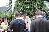 Chip Wooley addresses the media after Mine That Bird returns to Saratoga after surgery to repair breathing impairment