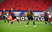 Football: Champions League, knockout round, round of 16, first leg, RB Leipzig - FC Liverpool at Puskas Arena. Dani Olmo  of Leipzig heads at goal past Henderson of Liverppol