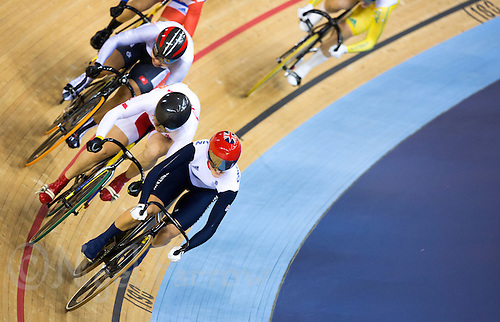 03 AUG 2012 - LONDON, GBR - Victoria Pendleton (GBR) of Great Britain sprints for the line ahead of her rivals to take the gold medal in the Women's Keirin final at the London 2012 Olympic Games in the Olympic Park Velodrome in Stratford, London, Great Britain .(PHOTO (C) 2012 NIGEL FARROW)