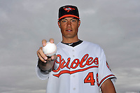 Feb 27, 2010; Tampa, FL, USA; Baltimore Orioles  pitcher Jeremy Guthrie (46) during  photoday at Ed Smith Stadium. Mandatory Credit: Tomasso De Rosa/ Four Seam Images
