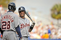 11 March 2008: Detroit Tigers' infielder Placido Polanco chats with teammate Curtis Ganderson at a Spring Training game against the Cleveland Indians at Chain of Lakes Park, in Winter Haven Florida.The Tigers rallied to defeat the Indians 4-2 in the Grapefruit League matchup....Mandatory Photo Credit: Ed Wolfstein Photo