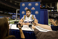 Will Blackwell of LSU talks with the reporters during BCS Media Day at Mercedes-Benz Superdome in New Orleans, Louisiana on January 6th, 2012.