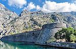 Venetian fortification of old town in Kotor, Montenegro