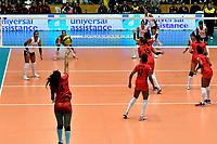 BOGOTÁ-COLOMBIA, 08-01-2020: Maricarmen Guerrero de Perú, sirve el balón durante partido entre Perú y Colombia en el Preolímpico Suramericano de Voleibol, clasificatorio a los Juegos Olímpicos Tokio 2020, jugado en el Coliseo del Salitre en la ciudad de Bogotá del 7 al 9 de enero de 2020. / Maricarmen Guerrero from Peru, serves during the ball during a match between Peru and Colombia, in the South American Volleyball Pre-Olympic Championship, qualifier for the Tokyo 2020 Olympic Games, played in the Colosseum El Salitre in Bogota city, from January 7 to 9, 2020. Photo: VizzorImage / Luis Ramírez / Staff.