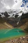 ice lake at the base of Humantay peak (19500 ft.). Lac glaciaire au pied du Mont Humantay (5940 m)
