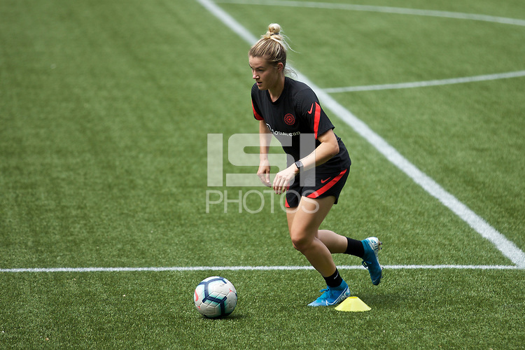 PORTLAND, OR - MAY 09: Christen Westphal of the Portland Thorns trains individually for the first time since the COVID-19 outbreak at Providence Park on May 09, 2020 in Portland, Oregon.