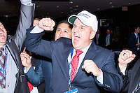 President of the National Border Patrol Council Brandon Judd, of Malta, Montana, celebrates as results are announced in favor of Trump outside the ballroom in the Midtown Hilton at the election night victory rally for Republican presidential nominee Donald Trump, on Tues., Nov. 8, 2016. Trump was named president-elect in the early hours of Nov. 9, 2016. The NBPC is the union representing Border Patrol Agents around the US.