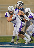8 October 2016: Amherst College Purple & White Running Back Jack Hickey, a Sophomore from Melrose, MA, scores a touchdown against the Middlebury College Panthers at Alumni Stadium in Middlebury, Vermont. The Panthers edged out the Purple & While 27-26. Mandatory Credit: Ed Wolfstein Photo *** RAW (NEF) Image File Available ***