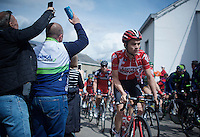 Tosh Van der Sande (BEL/Lotto-Soudal) up the Côte de Saint-Roche (1850m/6.3%)<br /> <br /> 101th Liège-Bastogne-Liège 2015