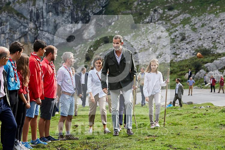 Queen Letizia of Spain, King Felipe VI of Spain and Princess Leonor of Spain visit the Enol lake in Asturias, Spain. September 08, 2018. (ALTERPHOTOS/A. Perez Meca)