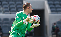 LOS ANGELES, CA - APRIL 17: Brad Stuver #41 of Austin FC makes a save during a game between Austin FC and Los Angeles FC at Banc of California Stadium on April 17, 2021 in Los Angeles, California.