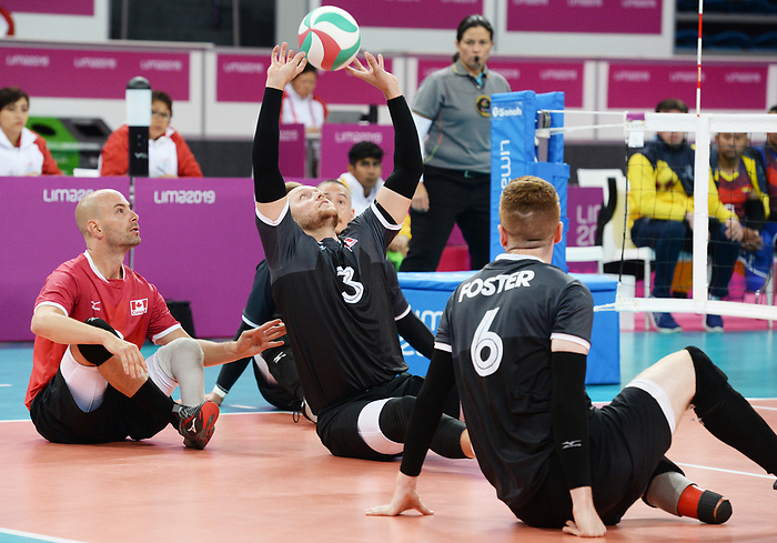 Mikael Bartholdy, Bryce Foster and Austin Hinchey, Lima 2019 - Sitting Volleyball // Volleyball assis.<br /> Canada competes in men's Sitting Volleyball // Canada participe au volleyball assis masculin. 24/08/2019.