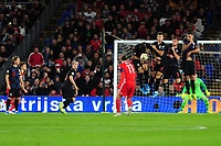 Gareth Bale of Wales free kick is blocked by Bruno Petković of Croatia during the UEFA Euro 2020 Qualifier between Wales and Croatia at the Cardiff City Stadium in Cardiff, Wales, UK. Sunday 13 October 2019