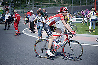 Stig Broeckx (BEL/Lotto-Soudal) as Grand Tour debutant at the start of stage 18.<br /> During the stage later that day he crashed quite badly and broke his collarbone and suffered a concussion.<br /> <br /> Giro d'Italia 2015<br /> stage 18: Melide (SUI) - Verbania (170km)