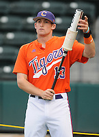 SHortstop Brad Miller (13) of the Clemson Tigers prior to a game against the South Carolina Gamecocks on Tuesday, March 8, 2011, at Fluor Field in Greenville, S.C.  Photo by Tom Priddy / Four Seam Images