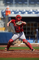 GCL Red Sox catcher Andrew Noviello (59) throws down to second during the first game of a doubleheader against the GCL Rays on August 4, 2015 at Charlotte Sports Park in Port Charlotte, Florida.  GCL Red Sox defeated the GCL Rays 10-2.  (Mike Janes/Four Seam Images)