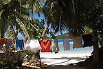 Seychelles, Island Mahe, Anse Takamaka: beach at southwest coast - clothesline