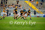 Abbeydorney's James O'Connor and Michael Lenihan of Dr Crokes tussle for possession in the County Senior hurling championship game on Sunday