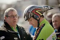 3 Days of De Panne.stage 3b: De Panne-De Panne TT..Koen Barbé (BEL) & his pointy helmet..