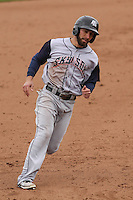 Colorado Springs Sky Sox outfielder Ben Guez (9) rounds third base during a Pacific Coast League game against the Iowa Cubs on May 11th, 2015 at Principal Park in Des Moines, Iowa.  Colorado Springs defeated Iowa 13-7.  (Brad Krause/Four Seam Images)