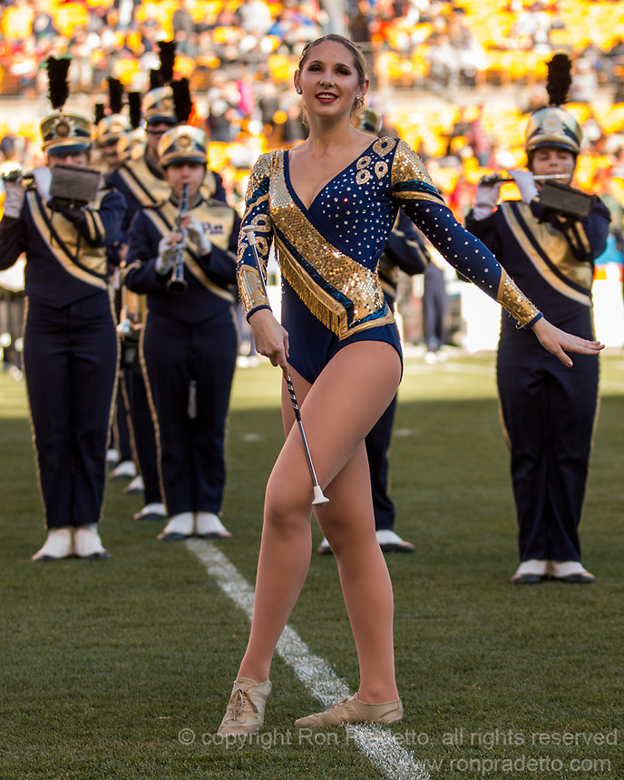 Pitt Panthers Golden Girl performs at halftime. The Pitt Panthers upset the undefeated Miami Hurricanes 24-14 on November 24, 2017 at Heinz Field, Pittsburgh, Pennsylvania.