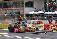 Aug. 2, 2014; Kent, WA, USA; NHRA top fuel dragster driver J.R. Todd during qualifying for the Northwest Nationals at Pacific Raceways. Mandatory Credit: Mark J. Rebilas-