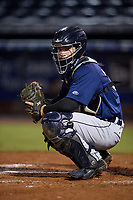 Lakeland Flying Tigers catcher Andres Sthormes (37) during the second game of a doubleheader against the Tampa Tarpons on May 31, 2018 at George M. Steinbrenner Field in Tampa, Florida.  Lakeland defeated Tampa 3-2.  (Mike Janes/Four Seam Images)