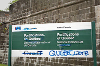 "A board vandalized by Quebec separatists is pictured in Quebec City July 1, 2010. Graffiti was added to the board, scratching ""Canada"", and a ""Quebec Libre"" (Free Quebec) was added.<br /> <br /> PHOTO :  Francis Vachon - Agence Quebec Presse"